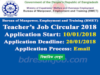 BMET Teacher's Job Circular 2018