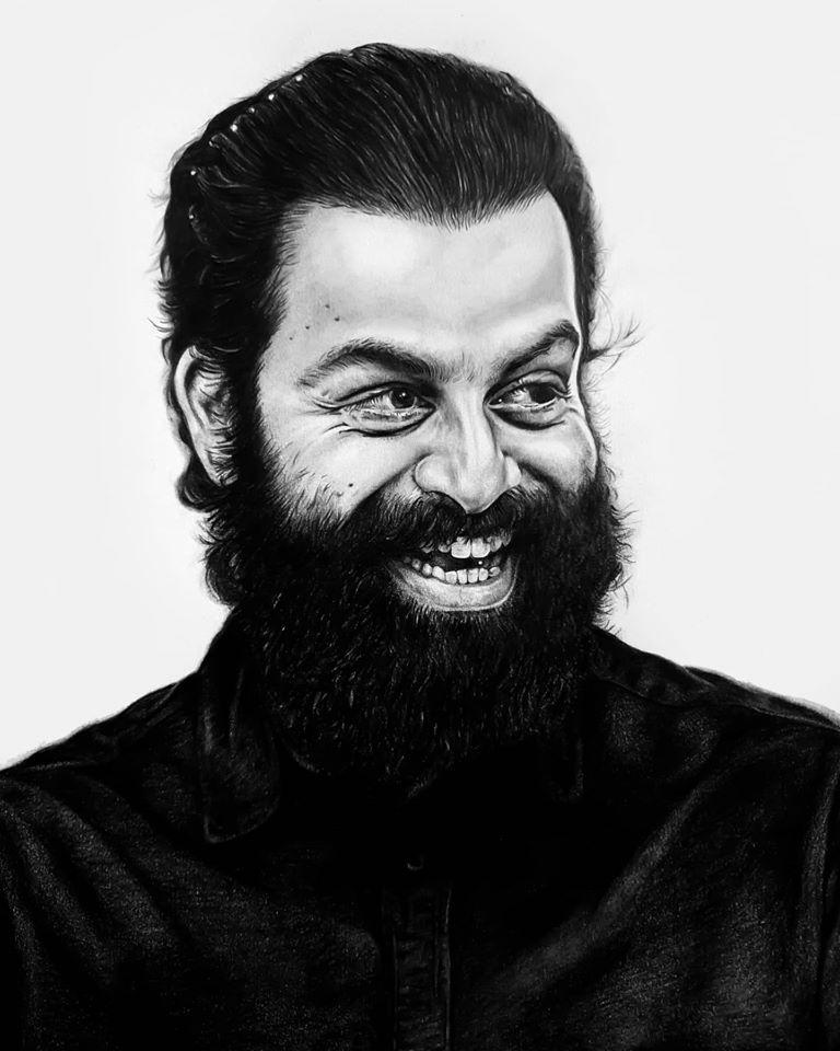 Pencil drawing of actor Prithwiraj Sukumaran