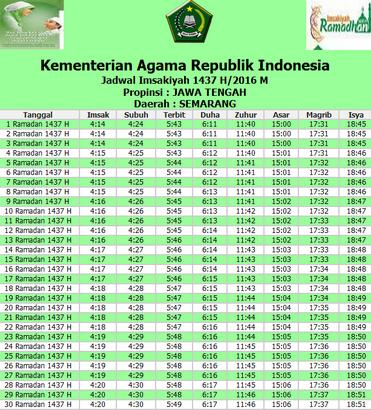 Jadwal Buka Puasa dan Imsakiyah Ramadhan 1437 H 2016 Daerah Semarang