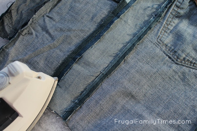 sewing jeans for diy window seat cushion