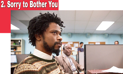 Sorry to Bother You 2018 comedy movie still Lakeith Stanfield Danny Glover working in cubicle