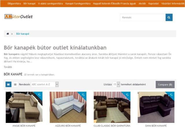Mivel a bőr kanapé kiemelt termék, neve szerepel a honlap menüjében.