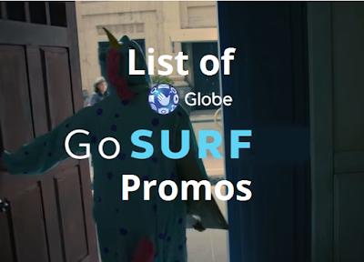 List of Globe GoSURF Promos : GoSURF15, GoSURF50, GoSURF299, GoSURF599 and GoSURF999