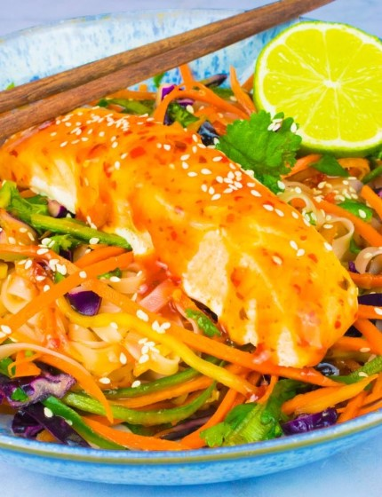 THAI NOODLE SALAD WITH CHILLI LIME AND GINGER SALMON