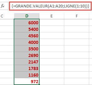 La fonction LIGNE intégrée dans la fonction GRANDE VALEUR