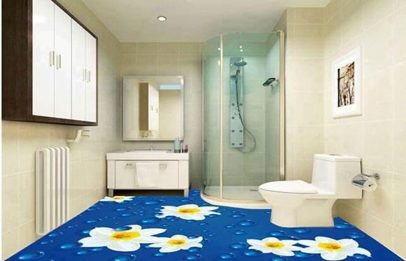 Banheiro piso margaridas