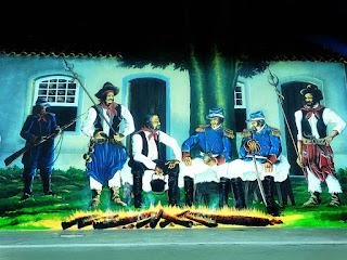 Pintura Farroupilha no Mirante de Guaíba - Reunião em Frente ao Cipreste e à Casa Gomes Jardim