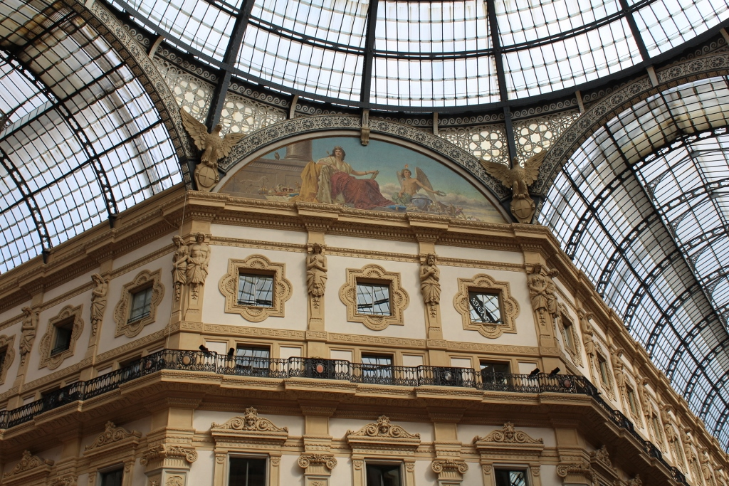 Architechture and detail inside Galleria Vittorio Emanuele II in Milan
