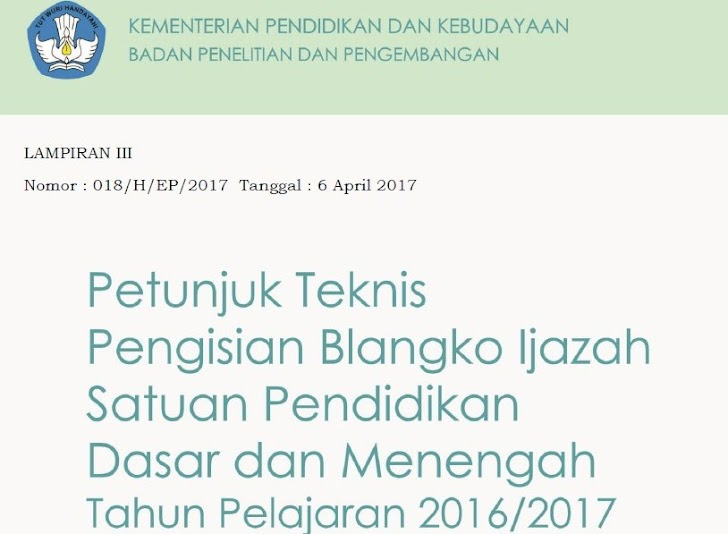 Download Juknis Pengisian Blangko Ijazah SD SMP SMA SMK 2017