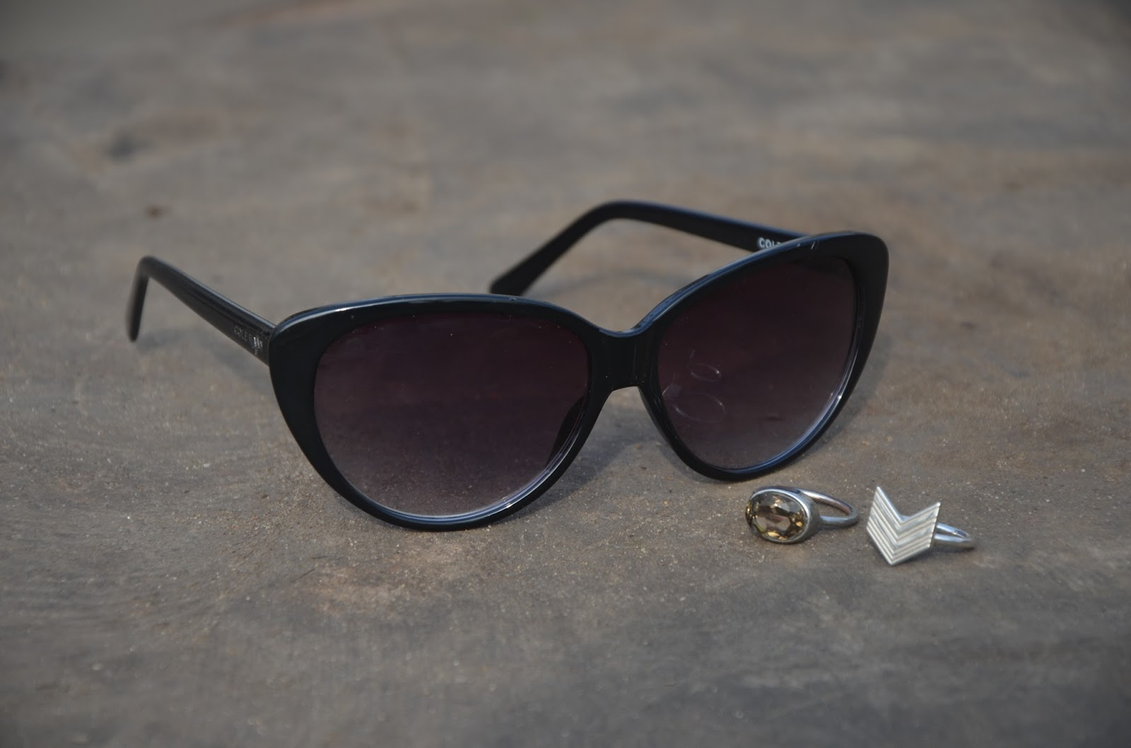 Black Acetate Cateye Cole Haan Sunglasses