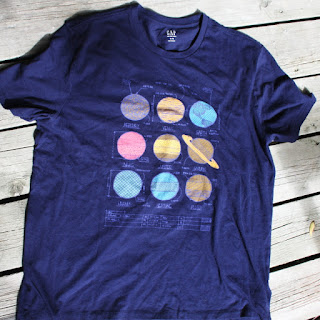blue t-shirt with planets