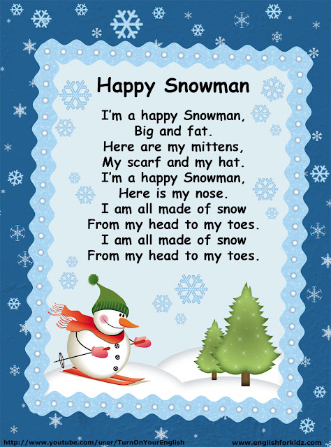 esl snowman song lyrics for children