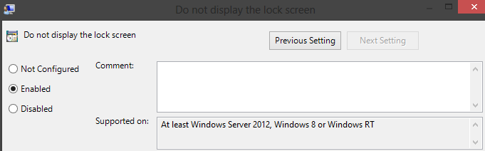Disable Lock Screen from Group Policy Editor