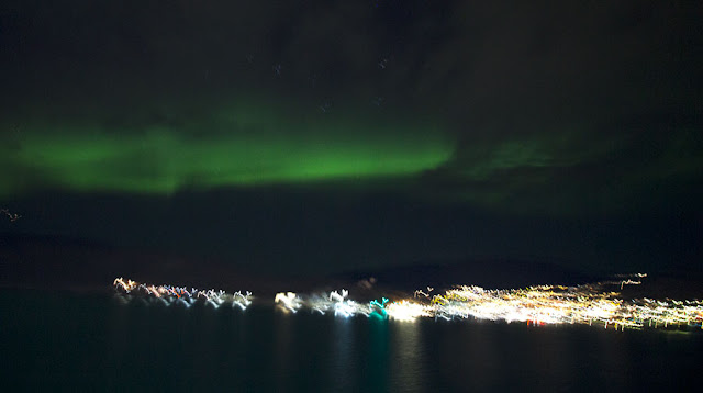 15-second exposure from Viking Sea at anchor in Qaqortoq, Greenland (Source: Palmia Observatory)