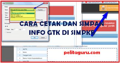 Cara Mudah Cetak dan Simpan Info GTK di SIM PKB Dalam Format PDF