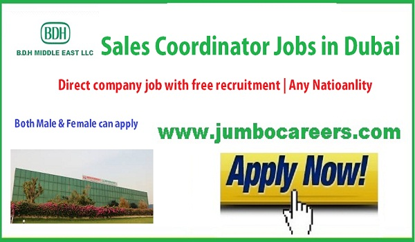 Direct free recruitment jobs in Dubai, Dubai sales coordinator jobs for Indians,