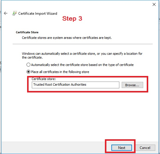 Certificate Install Step 3 - Trusted Certificate Assign