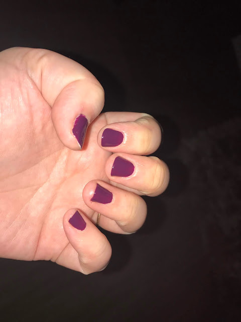 painted purple nails