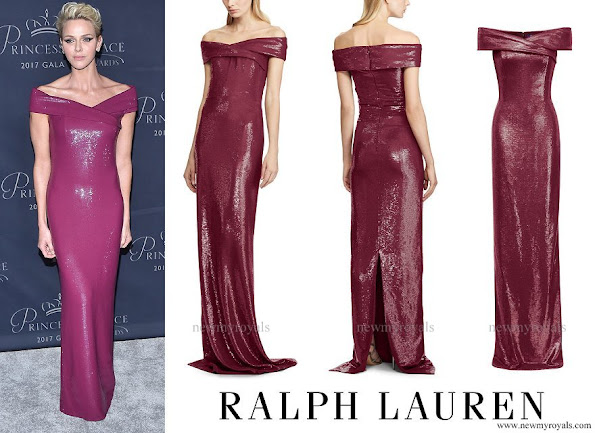 Princess Charlene wore Ralph Lauren Charlene Off-The-Shoulder Gown