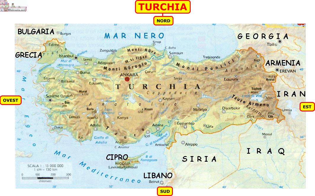 Turchia Mappa Fisica