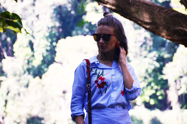 eastern european style floral embroidered folk blouse outfit idea girl blogger lob with topknot