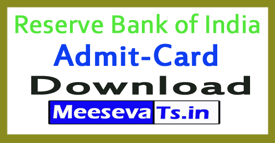 Reserve Bank of India RBI Admit Card Download 2017