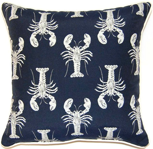 Navy Blue Lobster Pillow