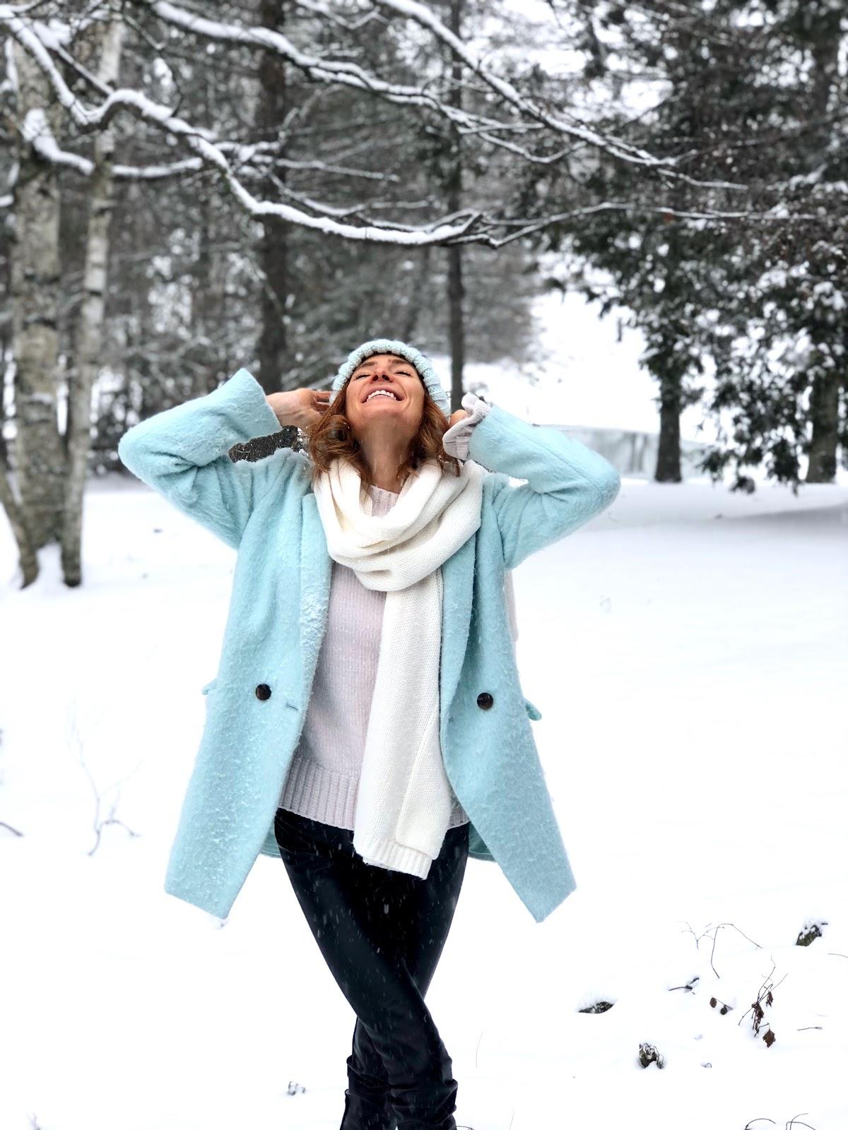 How to beat the winter blues- Old Navy Blue Shaggy Coat, Indigo Blue pom pom toque, Indigo white knit scarf