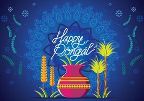 Happy Pongal Rangoli with flower designs