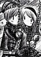 Dibujo de una pareja de enamorados en el columpio