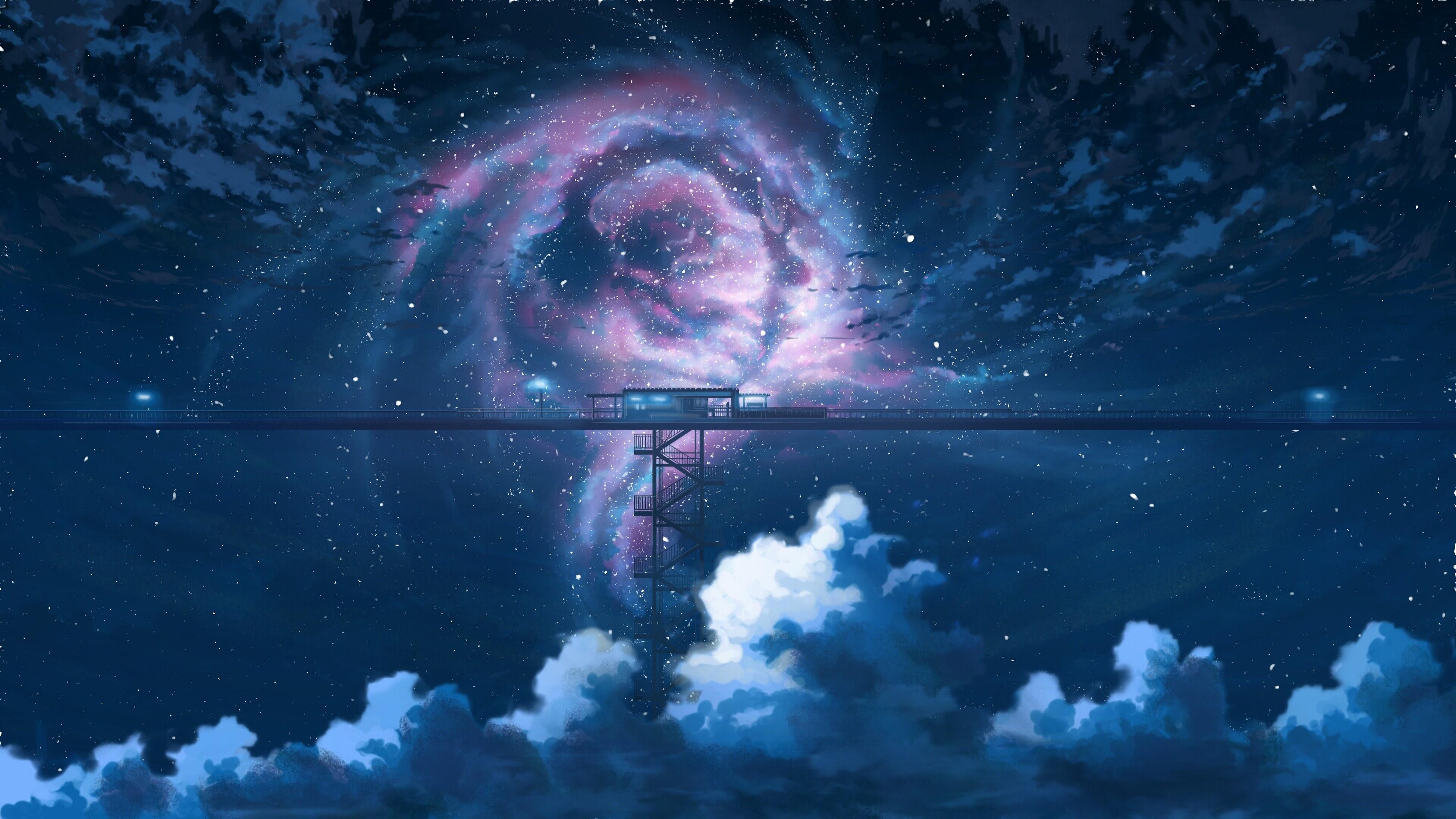 Anime, Night, Sky, Stars, Clouds, Scenery, 4K, #94 Wallpaper
