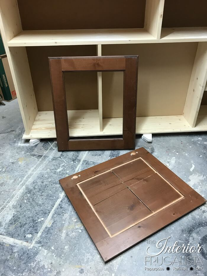 DIY Faux Fireplace Recessed Door Panels Removed