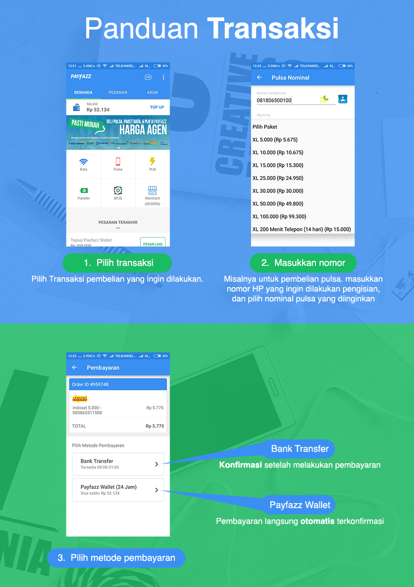 Cara Transaksi melalui Aplikasi