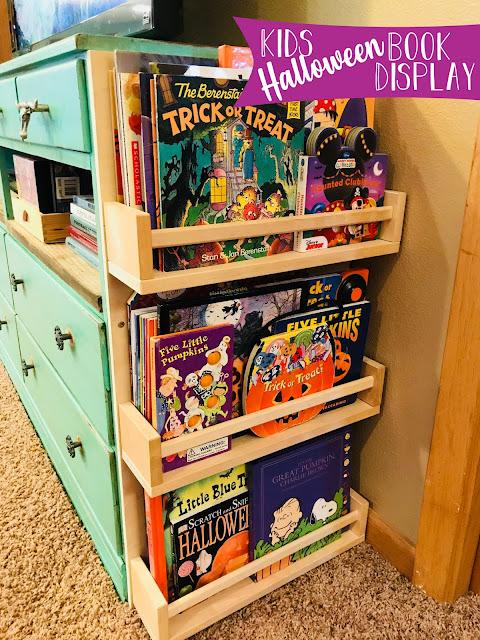 kids halloween book display