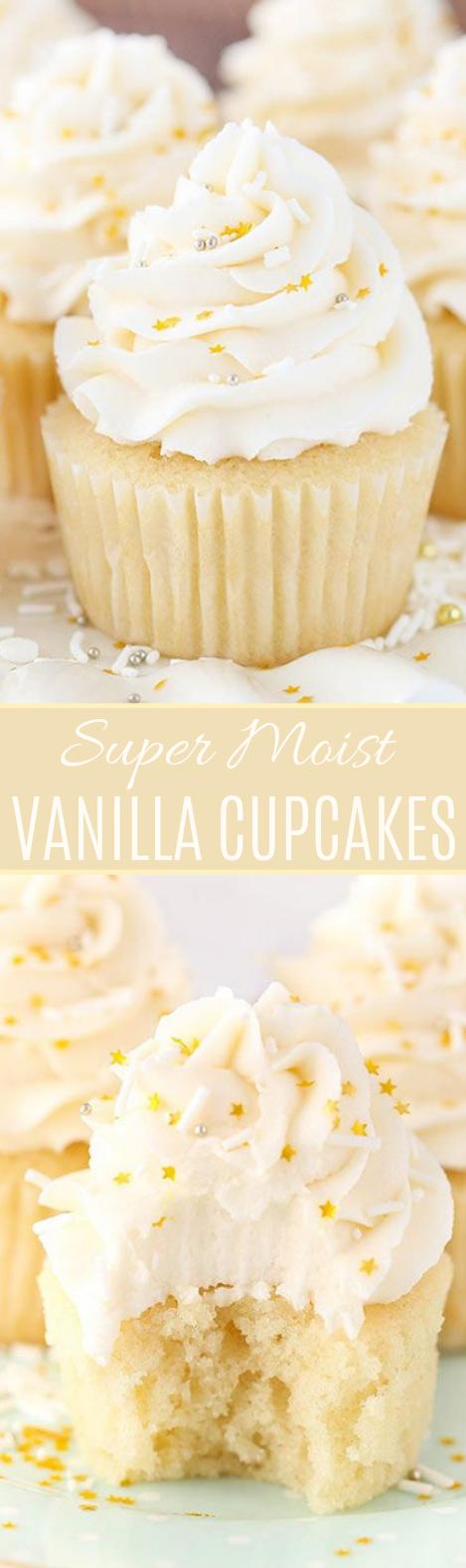 Moist Vanilla Cupcakes #dessert #cake
