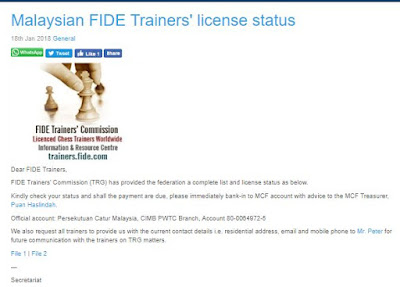 Malaysian FIDE Trainers Directory