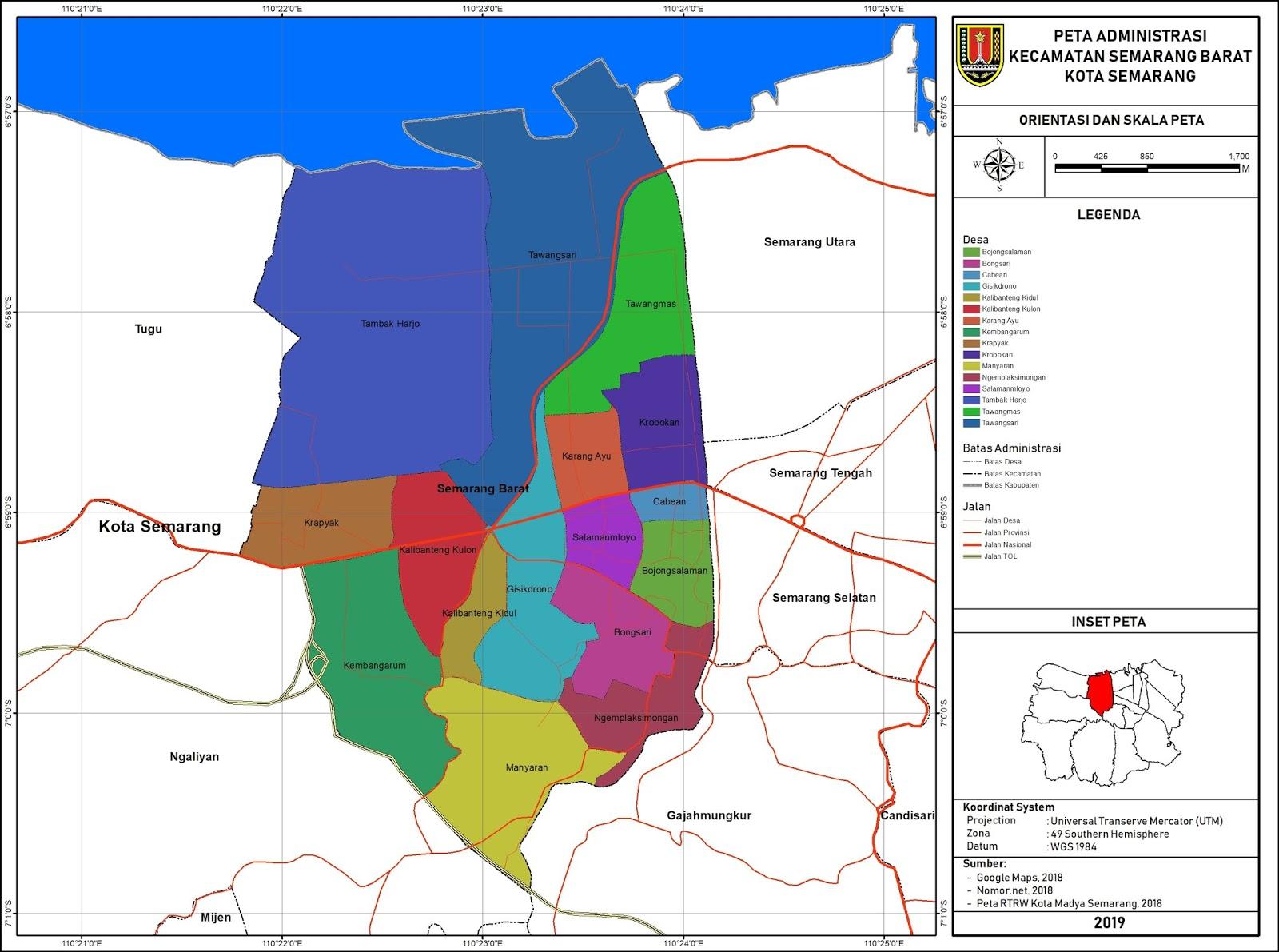 Peta Administrasi Kecamatan Semarang Barat, Kota Semarang ...
