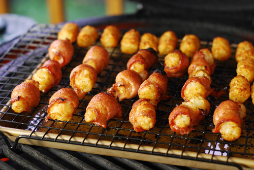 bacon wrapped tater tots, kamado appetizer,