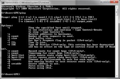 Informasi dan Perintah Pada menu Ping di CMD