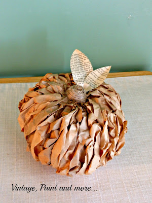 Vintage, Paint and more... rustic pumpkin made from brown paper lunch bags, twine and book pages