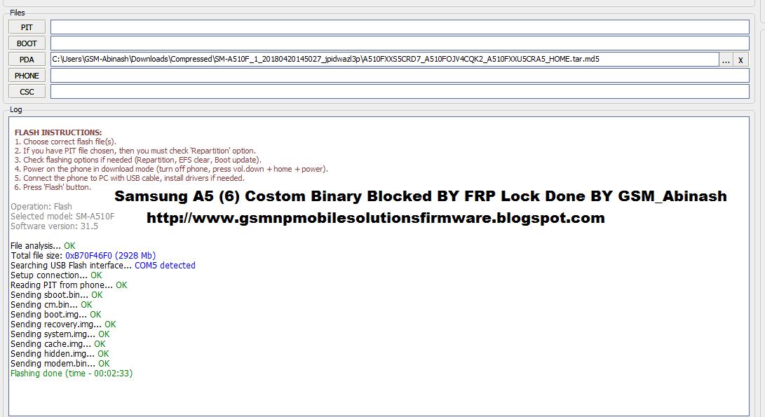 Samsung Galaxy A5 (2016) SM-A510F Costom Binary Blocked BY FRP Lock