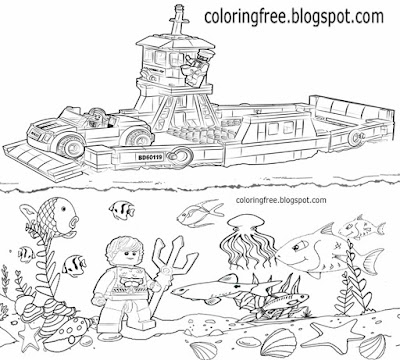 Commuter ferry crossing ocean floor marine life sea view city lego boat coloring sheets for kids art