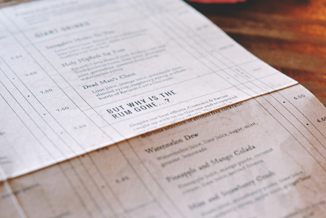 The Smuggler's Cove Drinks Menu