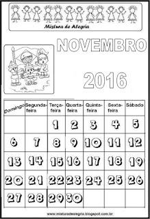 Calendário de 2016 - novembro