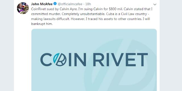 The Bitcoin SV [BSV]: John McAfee hit back against Calvin Ayre