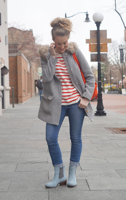 gray parka styled over sweater