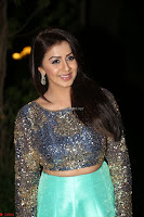 Nikki Galrani in Green Skirt  Top at Marakathamani music launch ~  Exclusive (103).JPG