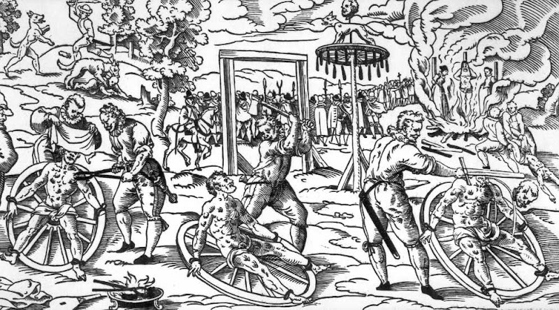 This woodcut (creator unknown) shows the 1589 execution of Peter Stumpp accused of lycanthropy. In the top left a wolf attacks a child. Below that a man with a sword fights a wolf. In the centre Stumpp's flesh is torn with red hot pincers while he is bound to a wheel. In the middle, the blunt side of an axe is used to break Stumpp's bones. On the right, Stumpp is beheaded. Above that, Stumpp's body is dragged away to be burnt. In the fire is Stumpp's daughter and mistress, each tied to a stake, being burnt alive with Stumpp's headless body between them.