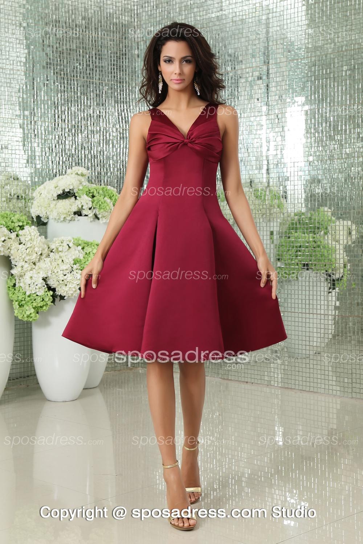 Dark Red Sleeveless V Neck Bowknot Elegant Short Cocktail Dress