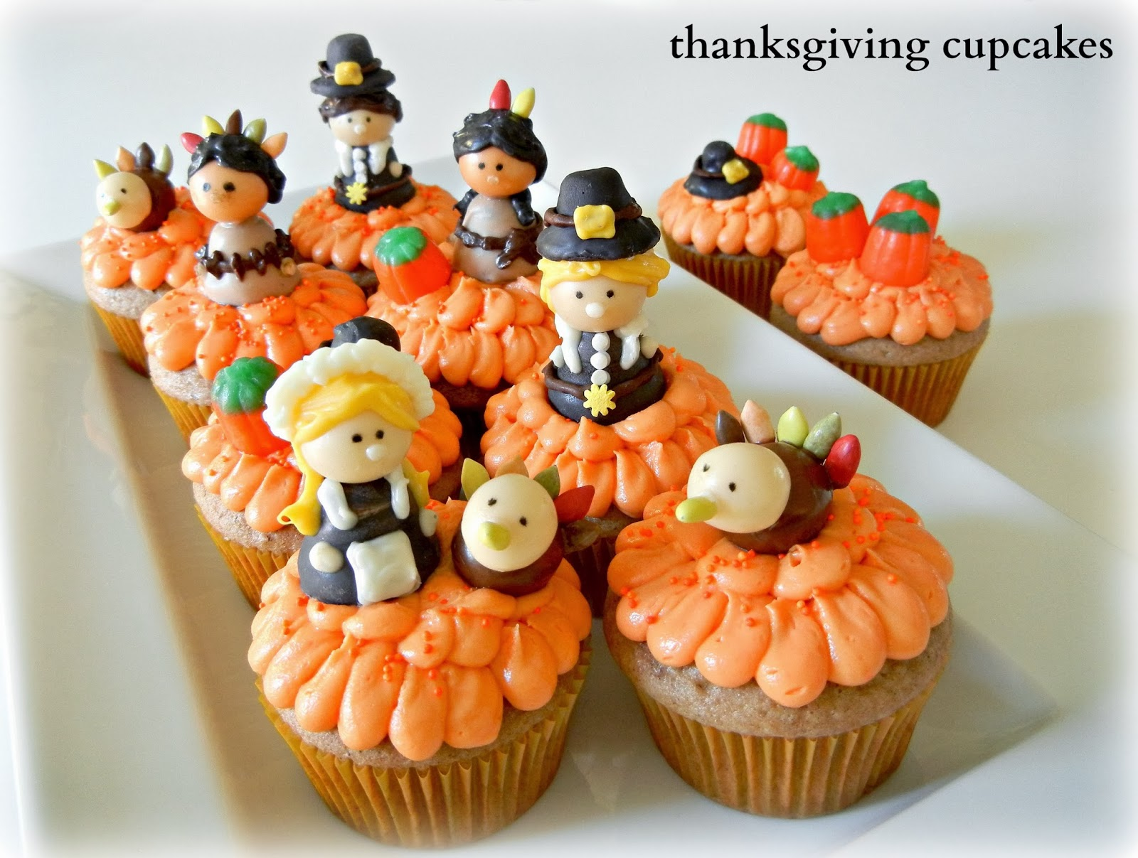 Thanksgiving Cupcakes With Pilgrim American Indian And Turkey Candy Toppers
